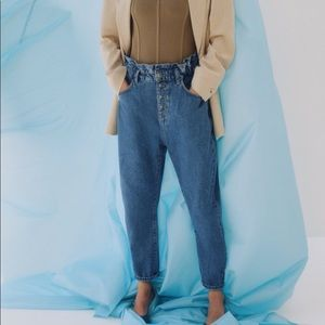 ZARA High Rise Paperbag Baggy Jeans 12